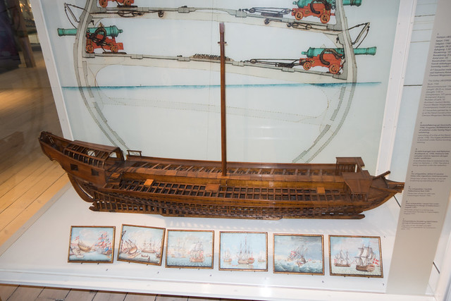 Model of the hull of a Danish warship