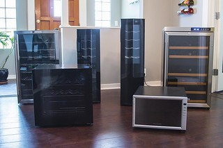 group of six wine fridges in dining room and dark wood floors | by yourbestdigs