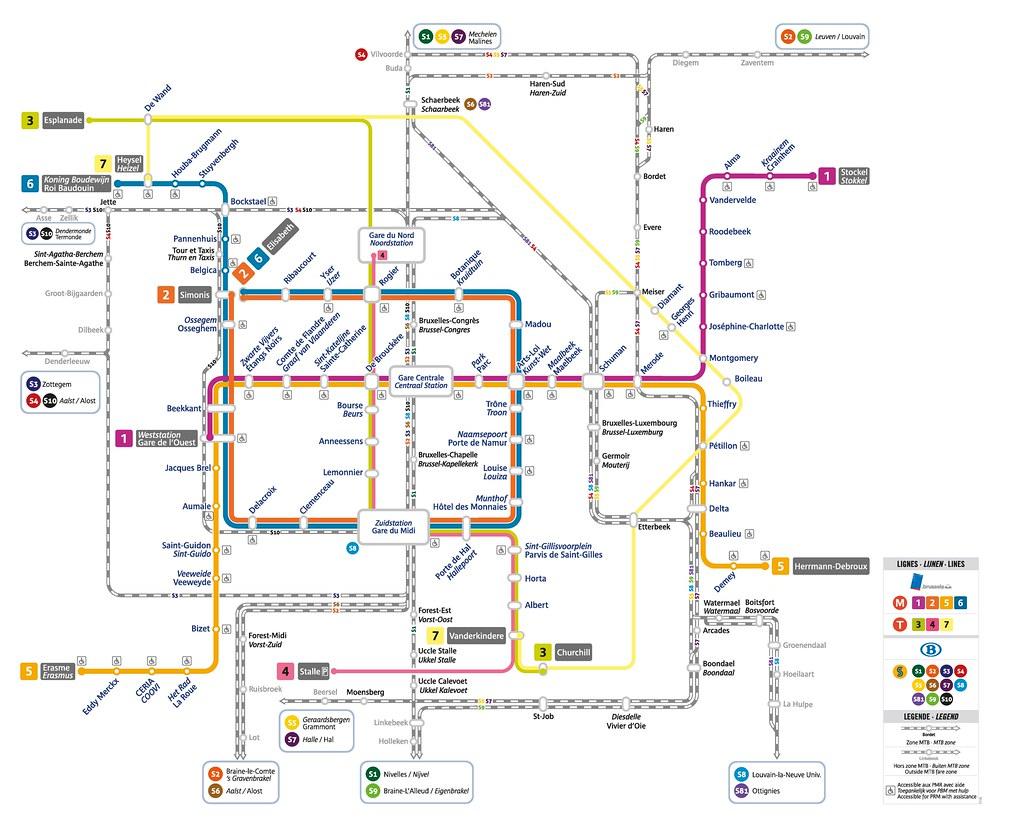 Brussels Metro and train network map | Daniel Bowen | Flickr