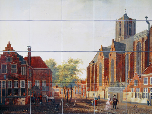 Tile Mural of the old town in Utrecht, Holland