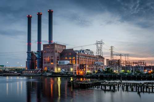 providence ri rhode island power plant sunset