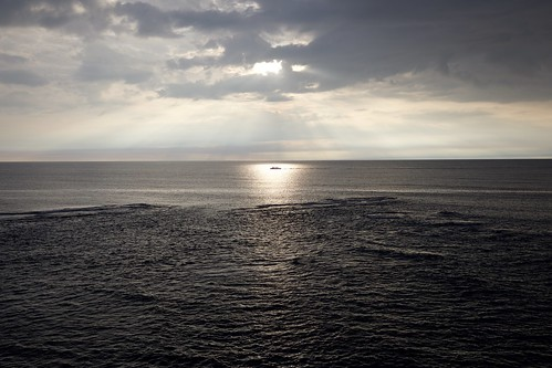 boat fukui japan sunset horizon