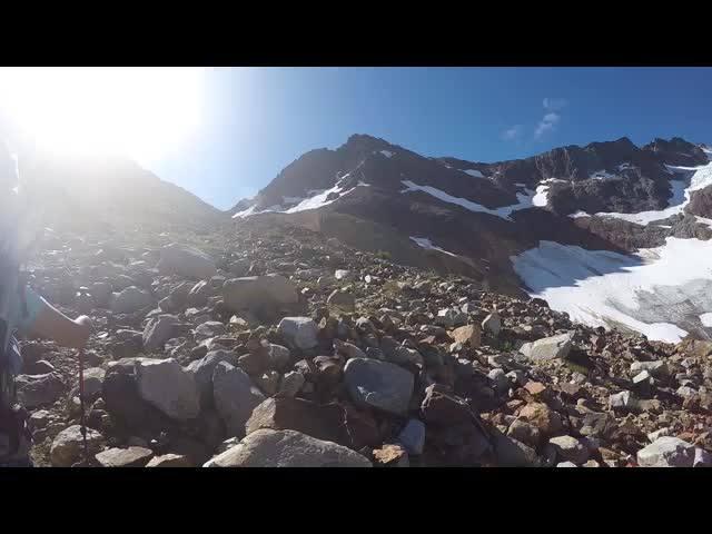 4704 GoPro video panorama of us above upper Lyman Lake on the way to Spider Gap