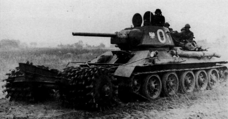 Tank T-34/76 equipped with a mine trawl