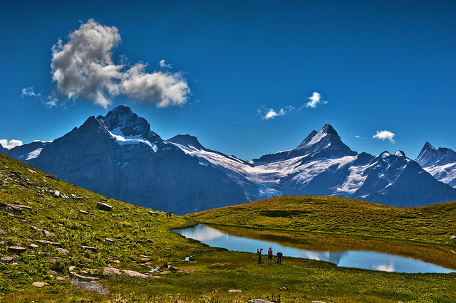 Hiking in Switzerland ; Grindelwald , Trift , above Bachsee . No. 8813.