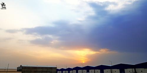 sky sunset riyadh ksa saudi warehouses cloud blue