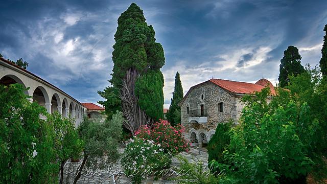 Ιερά Μονή Ευαγγελιστρίας Παλαιό Τρίκερι Holy Monastery of Annunciation Ancient Trikeri panorama 4vert captrs