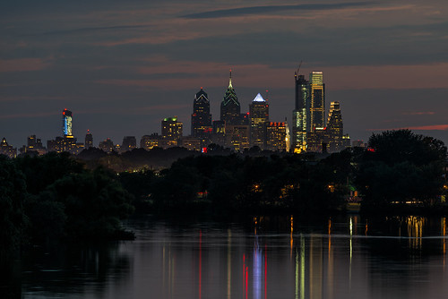 summer urban sunset philly reflection cooperriver cityscape water skyline philadelphia dusk cherryhill newjersey unitedstates us nikon d800e waterfront