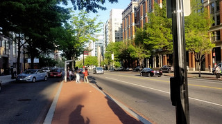 K Street's boulevard median, with bus stop | by BeyondDC