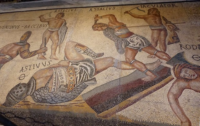 Fight of gladiators / Lluita de gladiadors, mosaic, Galleria Borghese, Roma