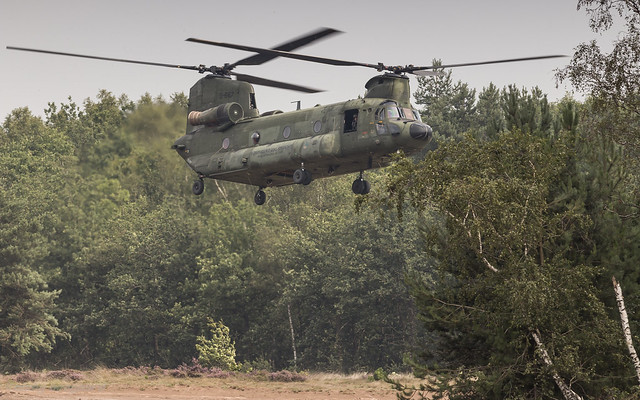 RNLAF CH-47 D-667 taking off at the Oirschotse Heide Low Flying Area
