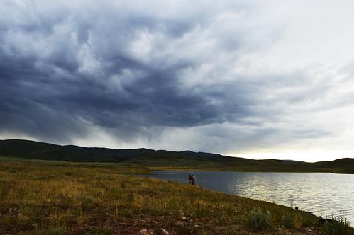 water lake sunset utah clouds storm fishing