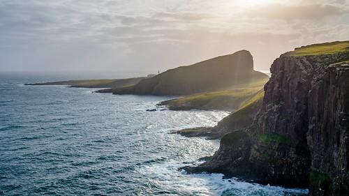 neistpoint lighthouse isleofskye waterstein water northsea sunset ocean scotland clouds unitedkingdom gb