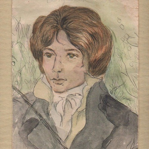 "A watercolor my mother did of John Keats, with whom she was obsessed. For her, it was always Keats & Hank Williams: two doomed poets who both died far too young, tragically - this caught her up in the romantic fixation on, as my father described it, ""...p 
