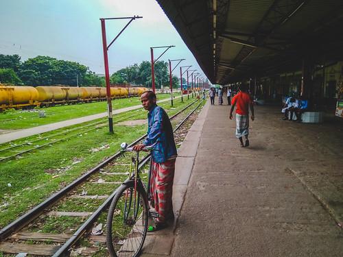 rangpur rajshahidivision bangladesh bd rail station people cycle movement colors