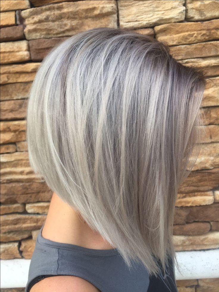 Trendy Hair Highlights Gray Silver Hair Bob Short Hair