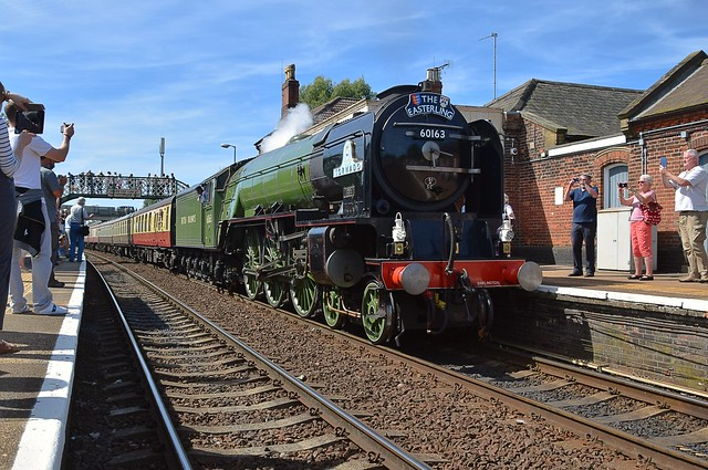 A1 Pacific Locomotive No.60163 'Tornado', pauses at Acle Station, at the head of 'The Easterling' tour from London Kings Cross to Great Yarmouth. 28 08 2017