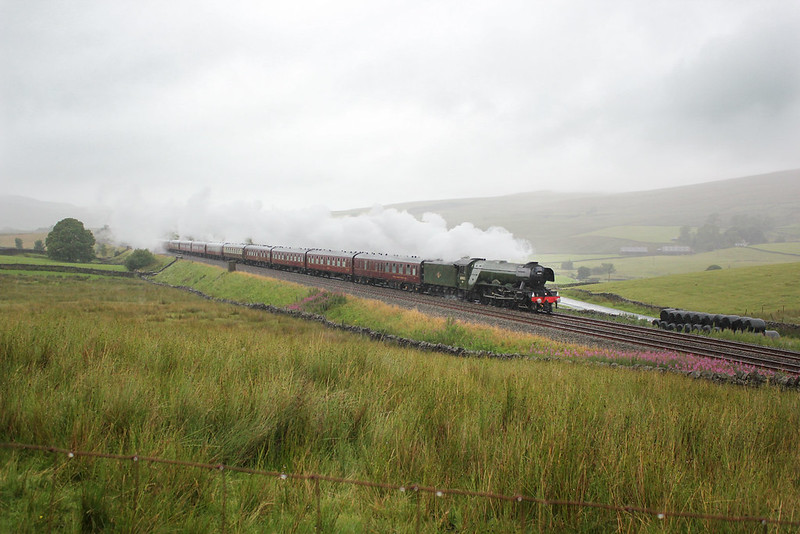 In typical weather for the Summer of 2017, A34 Pacific No.60103 'Flying Scotsman' passes Shaw Paddock on the approach to Shotlock Tunnel with the returning Waverley charter.