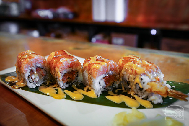Sunset Roll - Shrimp Tempura, Spicy Salmon, Crab, Spicy Tuna - Volcano Japanese Restaurant