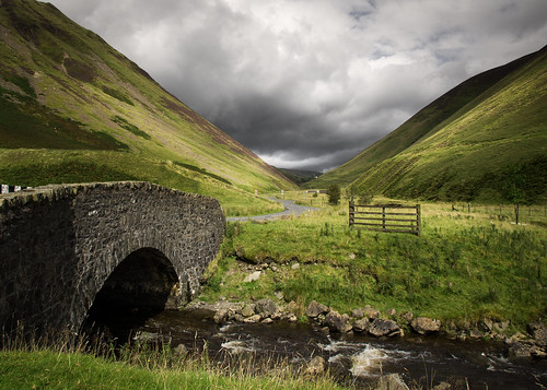 valley bridge stream hills burn