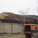 Rock Island E8 pulling some of their luxury coaches in Chicago on 2-16-76