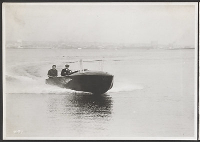 [Glenn Curtiss, Driving, and Passenger in Ambulance Speed Boat]