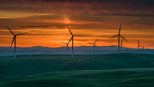 sunrise landscape windmill dayton washington unitedstates us