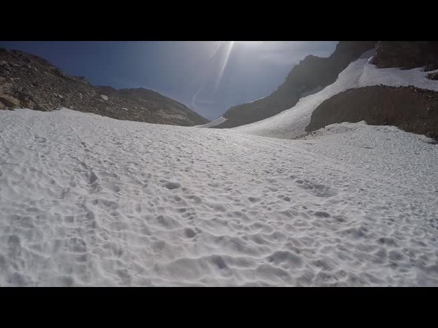 4803 GoPro video of the snowfield on the north side of Spider Gap as we continue climbing