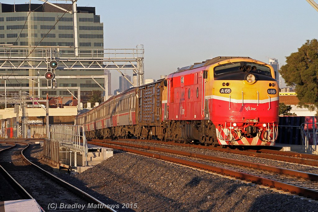 A66 with #8129 down Bacchus Marsh V/line pass at Middle Footscray (11/6/2015) by Bradley Matthews