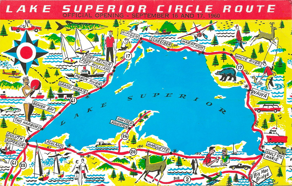 MICHIGAN MAP UP 1950s LAKE SUPERIOR Trans-Canada Superior ...