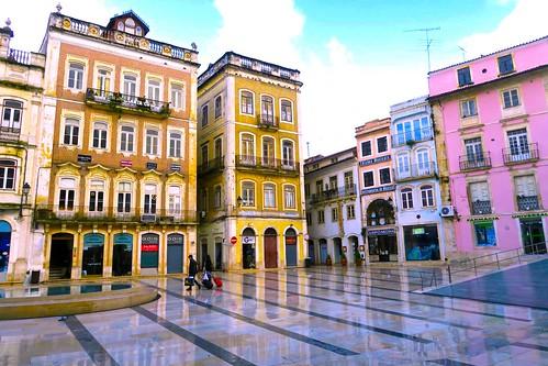 coimbra portugal europe sunrise rain wet outdoors street streetscene beautiful sky colorful buildings architecture purple