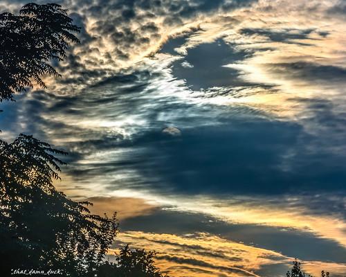 sunset lunar moon clouds nature sundown