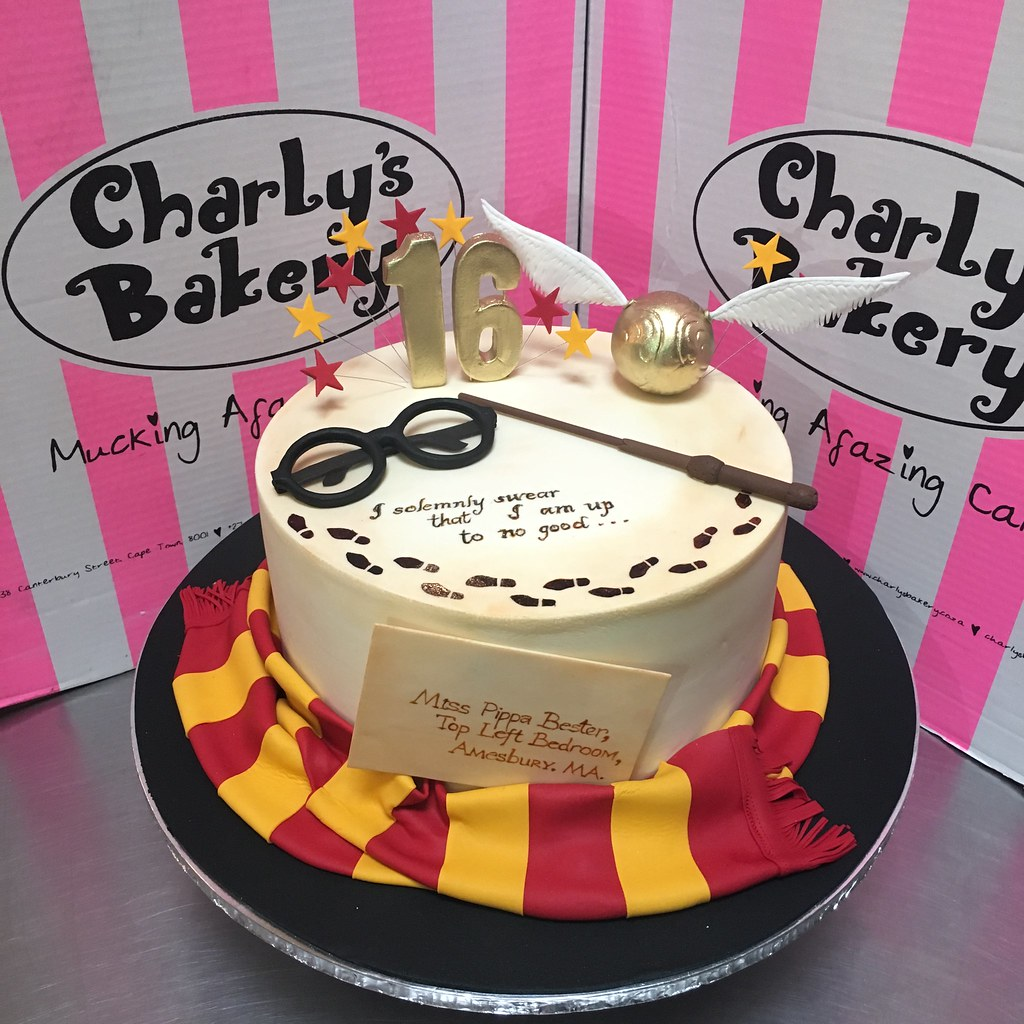Swell Harry Potter Themed Single Tier 16Th Birthday Cake With 3D Flickr Personalised Birthday Cards Paralily Jamesorg