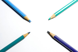 Color pencils pointing center | by wuestenigel