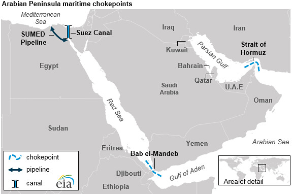 Map of Arabian Peninsula maritime maritime chokepoints | Flickr