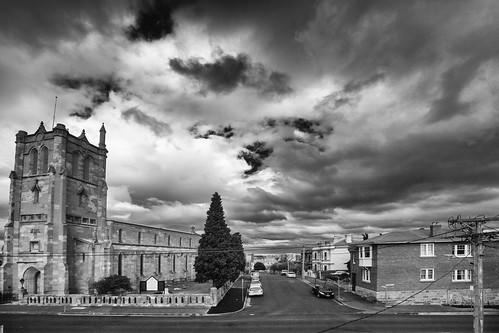 hobart churchstreet tasmania church architecture city town street clouds sky storm