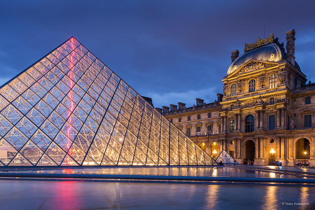 Louvre Pyramid at dusk