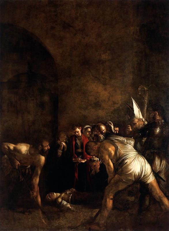 Caravaggio, Enterrement de sainte Lucie (1608), huile sur toile, 408 x 300 - Syracuse, Santa Lucia al Sepolcro