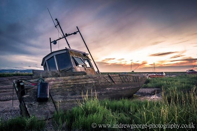 Sunset from Heswall boatyard on the Wirral
