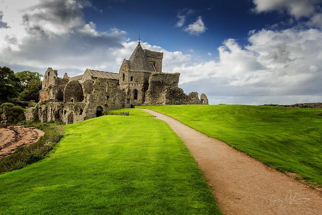 Abbey on Incholm Island, Firth of Forth River, Scotland.