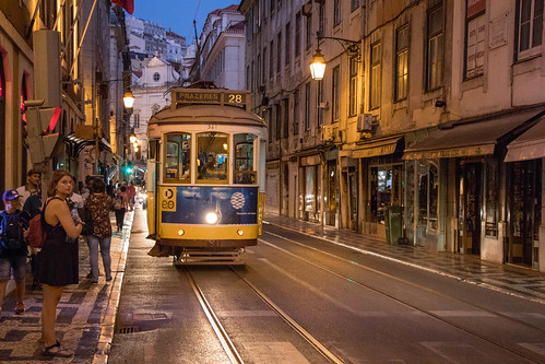Eléctrico at night in Lisbon | by wuestenigel
