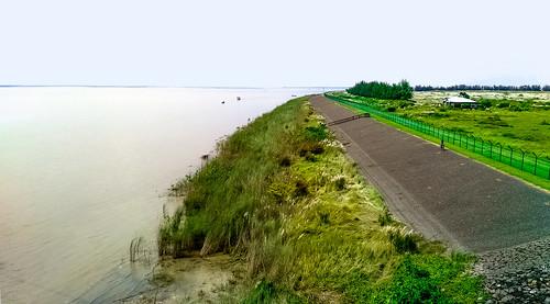 green jamuna resort river bangladesh tangail grass road cycle side riverside water sirajganj