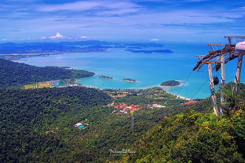 sky cablecar cab langkawi malaysia island sea top view explored canon hdr