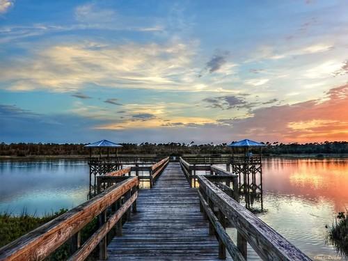 thebrillianceofmemory happyslidersunday hss sprucecreekpark portorangeflorida sunset sky creek sprucecreek colorful dock walkway scenic landscape