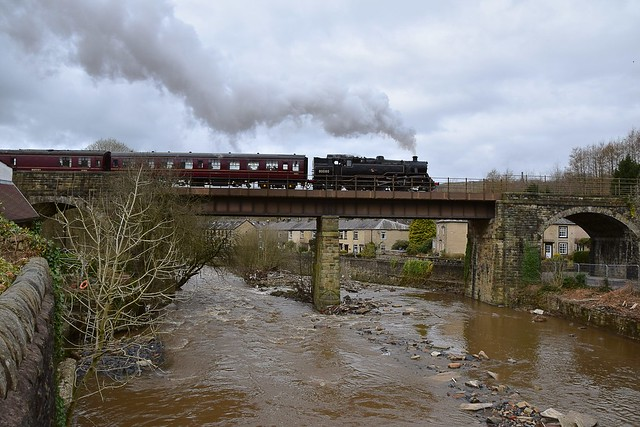 BR Class 4MT 2-6-4 Tank Locomotive No. 80080 crossing the viaductat Summerseats, enroute to Rawtenstall. East Lancs. 28 03 2016