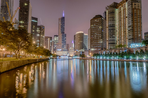 chicago chicagoriver chicagoriverwalk hdr illinois nikon nikond5300 outdoor trumptower wrigleybuilding city cityscape crane downtown geotagged lights longexposure night reflection reflections river sky skyscrapers tree trees water unitedstates