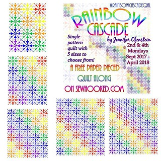 So it begins! Join me today on sewhooked.com for #rainbowcascadeqal, an entirely free #quiltalong to paper piece. Everything you need to get started is in today's post! #qal #rainbow #rainbowquilt #paperpieced #paperpiecing