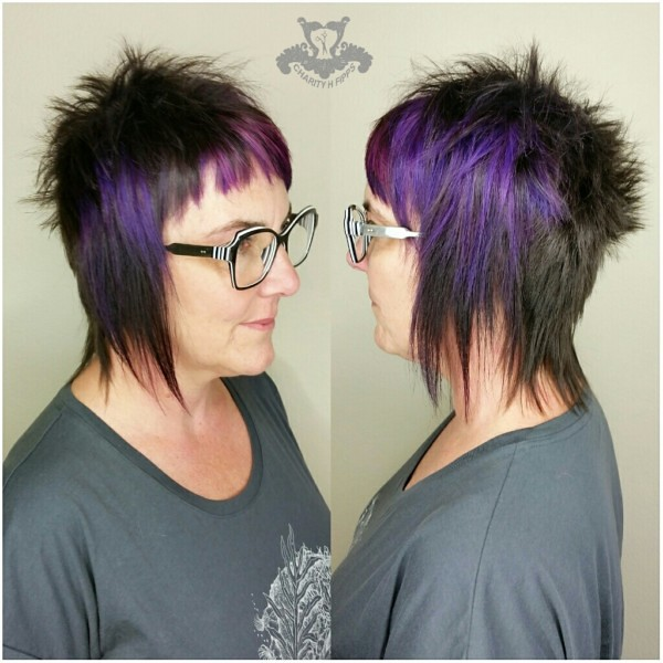 Black and Purple 💜 Punk Rock Avant-Garde Haircut