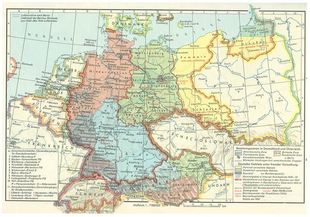Archiv N712 Mitteleuropa nach dem Zweiten Weltkrieg, historische Karte, 1950er