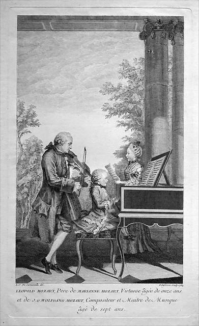 Mozart âgé de 7 ans jouant du clavecin avec sa soeur et son père, à Paris (Kupferstichkabinett, Berlin)